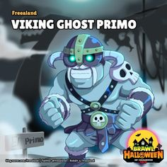 [Brawl Halloween] Viking ghost Primo ( made by. Star Character, Star Wallpaper, Star Art, Up Game, New Skin, Kawaii, Good Skin, Clash Of Clans, Games To Play