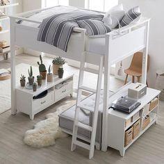 Hampton Convertible Loft Set With Cushy Loveseat Hampton Convertible Loft Bed Teen Bunk Beds, Loft Bunk Beds, Cool Loft Beds, Bunk Bed Designs, Small Bedroom Designs, Loft Beds For Teens, Casa Loft, Teen Bedding, Bedding Sets