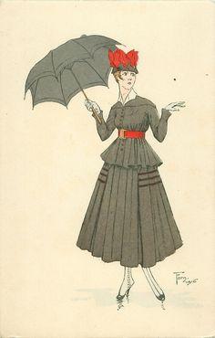 parasol abierto sostenido con la mano derecha, traje verde