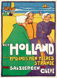 Holland Strand, Amsterdam, Retro Poster, Railway Posters, Dutch Artists, Worldwide Travel, Illustrations, Colorful Drawings, Vintage Travel Posters