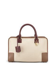 V22TC Loewe Amazona Bicolor Satchel Bag, Gray/Bordeaux
