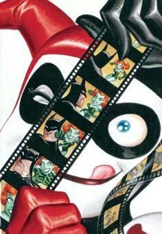 Harley Quinn looking at film reel of Batman and Poison Ivy. By Bruce Timm. Bruce Timm, Dc Comics, Manga Comics, Poison Ivy, Im Batman, Spiderman, Batman Art, Batman Superhero, Batman Stuff