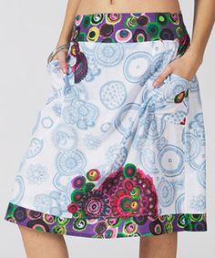 Mode Femme Blue & Purple Geometric Pocket A-Line Skirt by Mode Femme #zulily #zulilyfinds