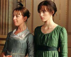 Claudie Blakley as Charlotte Lucas and Keira Knightley as Elizabeth Bennet, Pride & Prejudice (2005) Costume Designer Jacqueline Durran