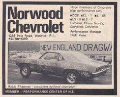Ralph Ridgeway Chevrolet Dealership, Chevrolet Camaro, Norwood Ohio, Chevy Dealerships, 1968 Camaro, High Performance Cars, Chevy Nova, Car Advertising, Drag Cars