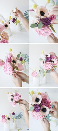 Wedding Bouquet Is Made Entirely Of Felt Flowers! DIY - How to make a felt wedding bouquet!DIY - How to make a felt wedding bouquet! Felt Flower Bouquet, Diy Bouquet, Flower Bouquet Wedding, Felt Flowers, Diy Flowers, Fabric Flowers, Paper Flowers, Ribbon Flower, Felt Flower Diy