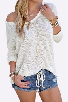 White Knitted Sexy V Neck Long Sleeves See-through T-shirt