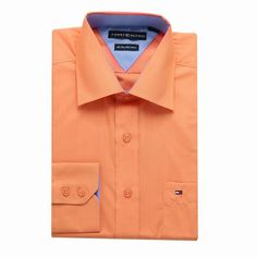 Tommy Hilfiger Long Sleeve Dress Shirts Orange Free Shipping Long Sleeve Shirt Dress, Dress Shirts, Tommy Hilfiger Shirts, Dresses With Sleeves, Free Shipping, Orange, Mens Tops, Fashion, Moda