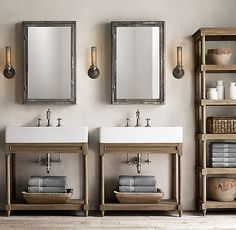 RH's Weathered Oak Single Console Washstand:Rustic yet refined, our solid oak console features open shelving that offers streamlined storage in the bath. Rustic Master Bathroom, Oak Bathroom, Modern Bathroom, Bathrooms, Bathroom Ideas, Belfast Sink Bathroom, Craftsman Lake House, Small Narrow Bathroom, Restoration Hardware Bathroom