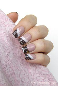Rilakkuma nail design with dots and lace