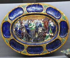 "Flat ""the adulterous woman"" France, Bernard Palissy, beginning of 17th century Earth glazed"