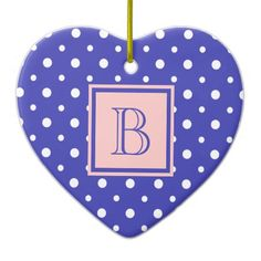 Cute Heart Shaped Ornaments Purple & White Polka Dots, add your Initial on the Purple and Pink Label #Christmas #ornament #heart #monogram #polkadots