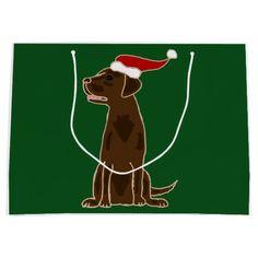 Funny Chocolate Labrador Retriever Christmas Art Large Gift Bag #labrador #retriever #Christmas #giftbag #chocolate #dogs #funny And www.zazzle.com/petspower*