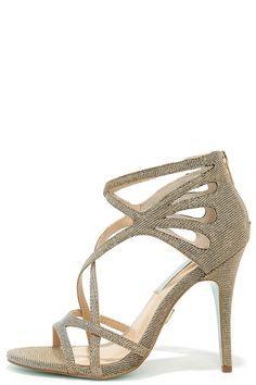 Blue by Betsey Johnson Talia Gold Caged Dress Sandals at Lulus.com!