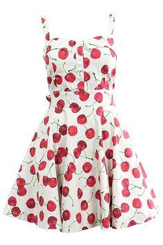 ROMWE | Cherry Print Pleated Skater Dress