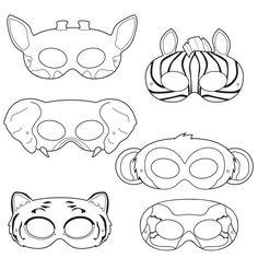 Jungle Animals Coloring Masks, monkey mask, elephant mask, tiger mask, zebra mask, giraffe mask, parrot mask, jungle party, animal costume