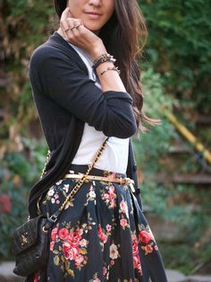 Floral Skirt and boots