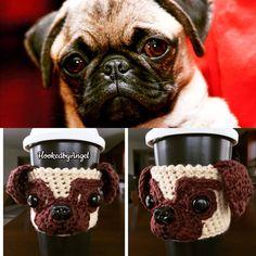 Pug Mug/Cup Cozy, Dog Mug Cozy, Custom Dog Coffee Sleeve. hookedbyangel.etsy.com