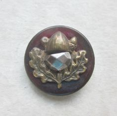 Acorn Oak and  Leaf Button.  Small Dyed Dark Red Pearl Button.  OneWomanRepurposed 683 by OneWomanRepurposed on Etsy