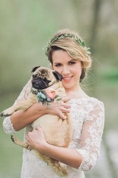 Get your pets involved in your wedding ceremony #pug Charli Photography