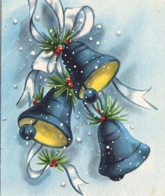 Vintage Blue Christmas Bells.