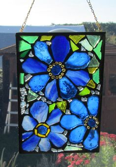 Blue Flowers  Stained Glass SunCatcher or wall by HildeMosaics, $26.00