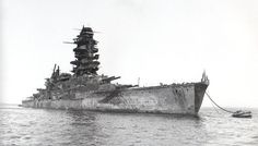 16 in Japanese battleship Nagato, Admiral Yamamoto's flagship at the time of Pearl Harbor, pictured as captured at the end of WW2 in a heavily damaged state off Yokosuka in 1946. She was expended as a nuclear target later that year.