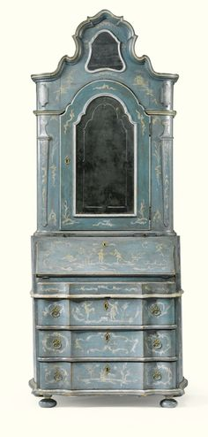 AN ITALIAN PALE BLUE AND WHITE CHINOISERIE LACQUERED WALNUT BUREAU CABINET, VENETO, MID 18TH CENTURY AND LATER, REDECORATED