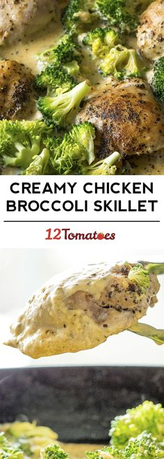 Creamy Chicken Broccoli Skillet sub for milk for heavy cream and use low carb thickener instead of flour Broccoli Recipes, Chicken Broccoli, Creamy Chicken, Turkey Recipes, Chicken Recipes, Dinner Recipes, Broccoli Stalk, Parmesan Recipes, Steak Pasta