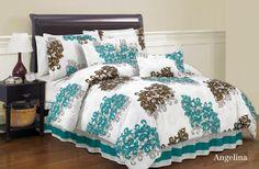 Duck River Textile Angelina Queen Comforter Set, Brown/Turquiose