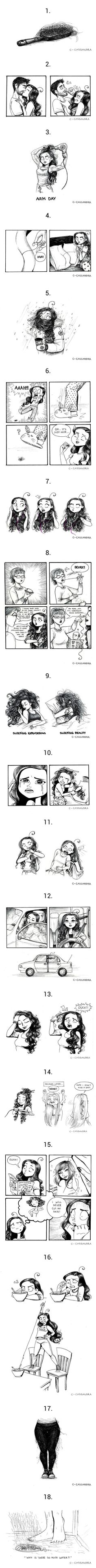 18 Painful Truths About Having Long Hair (by Cassandra Calin) Haha most of these apply! This is great, Cassandra Calin Cassandra Calin, C Cassandra, Girls Problems, Funny Cute, The Funny, Hilarious, Rage Comic, Curly Hair Problems, Funny Illustration