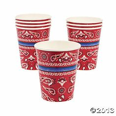 Red Bandana 9 oz. Cups - $2.00 for 8 cups