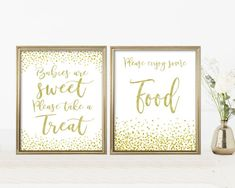 Baby Shower Signs Kit, Printable Set, Editable PDF Template, Gold Confetti, Digital Print, Instant Download, Babies are sweet, please take a treat, Please enjoy some Food Lds Baptism Program, Baby Shower Signs, Gold Confetti, Baby Games, Girl Shower, Shower Games, Baby Shower Decorations, Digital Prints, Pdf