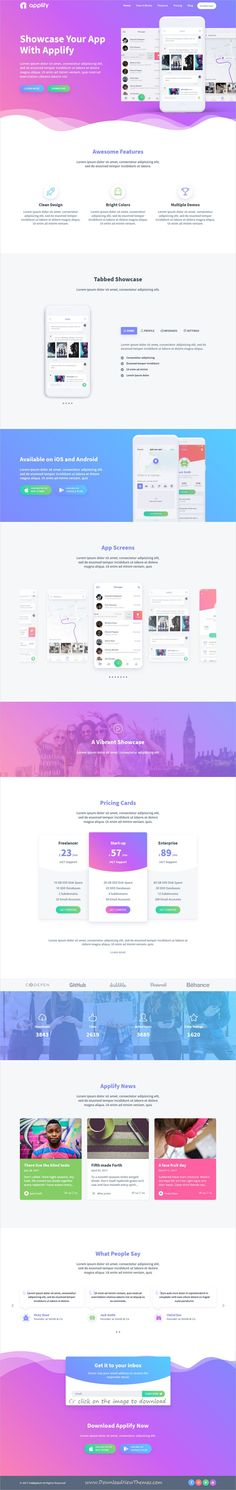 Applify is clean and modern design 4in1 responsive #HTML template for creative #app landing page website to download click on image.
