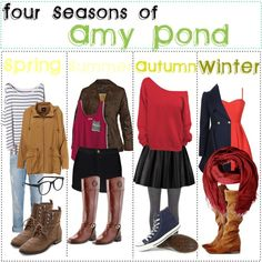 """""""Four Seasons of: Amy Pond"""" by fabfandomsfash on Polyvore"""