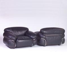 Gianfranco Frattini; Leather and Chromed Tubular Metal 'Sesann' Chairs for Cassina, 1970.