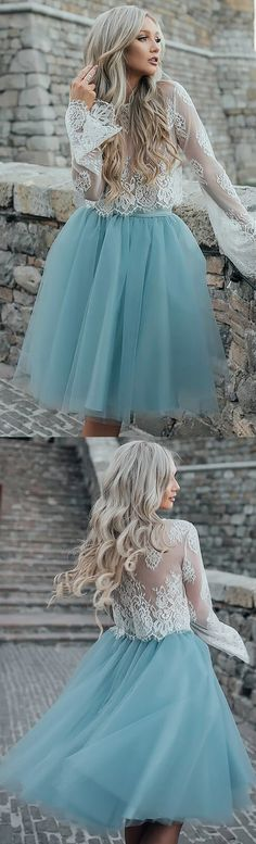 Short Homecoming Dress, Tulle Homecoming Dress, Lace Homecoming Dress, Two Pieces Junior School Dress, Long Sleeve Graduation Dress, 17641