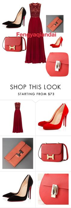 """""""Fengyaqiandai genuine leather bags20160112005"""" by houseofhello on Polyvore featuring Elie Saab and Christian Louboutin"""