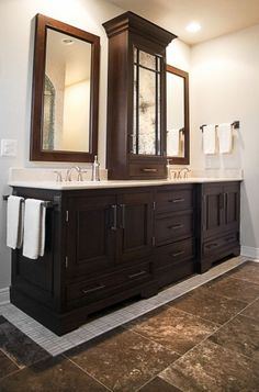 Nice vanity idea, also like the darker floor tiles (for the shower)