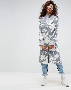 2d6aa7c88561 ASOS – Oversize-Mantel mit Jaquard-Print Farbig, Damen Bekleidung, Jacken,