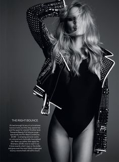 Photographed in a moto jacket and black bodysuit, Marloes Horst wows in this black and white image