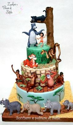 Jungle Book Cake - by ZuccheroeStelle @ - cake decorating web. - Favorite Desserts -The Jungle Book Cake - by ZuccheroeStelle @ - cake decorating web. Teen Cakes, Cakes For Boys, Pretty Cakes, Cute Cakes, Birthday Cakes For Teens, Cake Birthday, Disney Birthday, Happy Birthday, Jungle Book Party