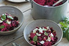 Beetroot & Goat's Cheese Risotto Recipe by Callum Hann and Themis Chryssidis - Quick.Easy.Healthy. This big beautiful pink risotto is earthy, rich and creamy, and partnered with the fresh zesty fennel and orange salad it makes a delicious vegetarian dish.