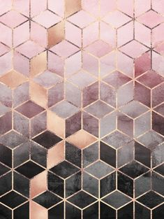 graphic, design, abstract, pattern, pink, lines, gold, cubes, geometry, geometric, geometrico, abstrato - PINK AND GREY GRADIENT CUBES » Prints