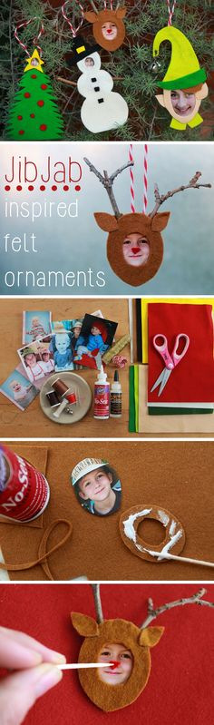 DIY hilarious photo ornaments for the whole family. Inspired by JibJab Christmas eCards, you can have so much fun with simple felt cutouts and family member faces.