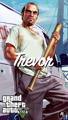 Trevor #GTA #Iphone5 #Wallpaper Trevor is definitely my fav, Michael would be second and Franklin third. Although Franklin's car is decently the coolest