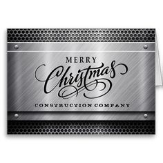 Construction business christmas cards with logo by idesignstationery brushed steel construction business christmas card wajeb Gallery