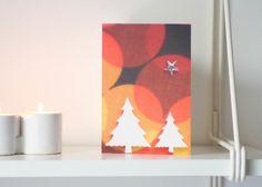 Retro Christmas trees greeting card £2.00