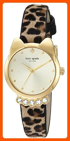 56c8e808d9cc kate spade new york Women s  Cat Shaped Case  Quartz Stainless Steel and  Leather Casual Watch