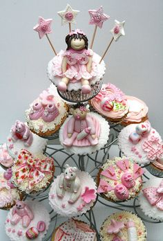 Personalized and special Baby Shower Cupcakes with fairy cupcake on the top of tower
